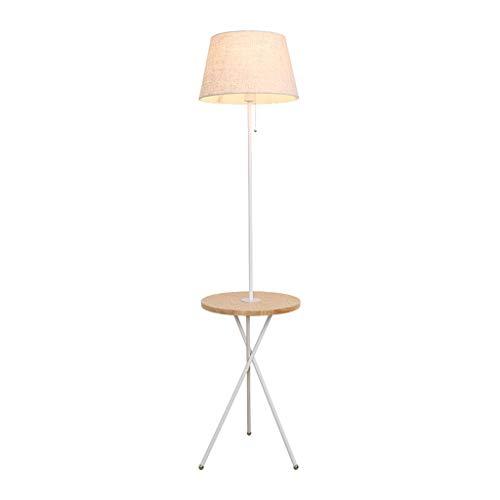 Floor Lamp Tripod with Storage Desk Wood Fabric E27 Nordic Simple Modern Living Room Bedroom Bedside Sofa Floor Lamp
