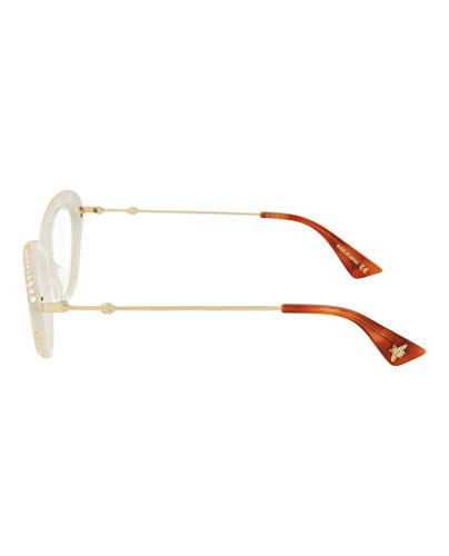 1f328cd743 Gucci GG 0215O 003 White Plastic Cat-Eye Eyeglasses 51mm  Amazon.ca   Clothing   Accessories
