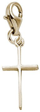 Rembrandt Charms Cross Charm with Lobster Clasp, Gold Plated Silver
