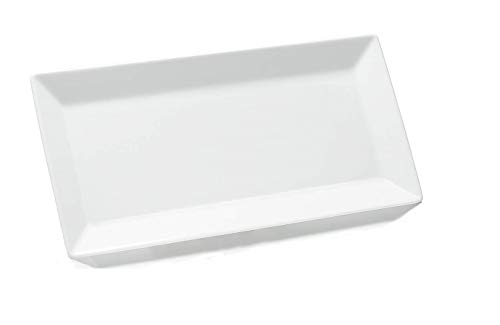 Rectangular Plates/Serving Trays Stackable White Porcelain 12 Inches PACK OF 6 ()