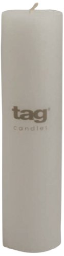 Tag 100056 2-Inch by 8-Inch Unscented White Pillar (Pillar Candle Tag)