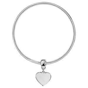 1001 Bijoux - Bracelet jonc argent massif 3mm diamètre 66 avec coeur coulissant vierge à graver