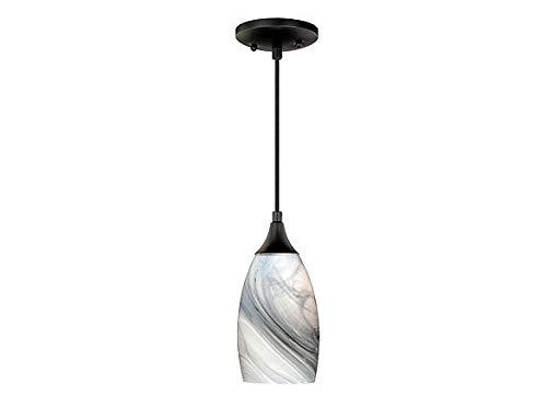 Vaxcel P0175 Milano Mini Pendant Marble Swirl Glass, Oil Rubbed Bronze Finish