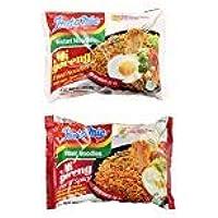 Indomie Mi Goreng Instant Halal Stir Fry Noodles Original and Hot & Spicy Bundle, 10 counts total - PACK OF 2