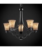 Justice Design Group ALR-8500-65-DBRZ Alabaster Rocks! Collection Argyle 5-Light - 65 Rocks Dbrz Alabaster