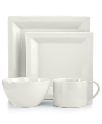 Martha Stewart Collection Harlow Talc White Square 4-Piece Place Setting (Dinnerware Martha Stewart)