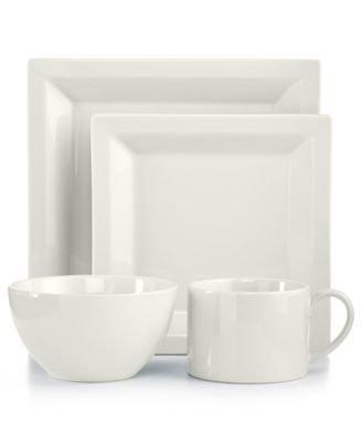 [Martha Stewart Collection Harlow Talc White Square 4-Piece Place Setting] (Martha Stewart Dish)