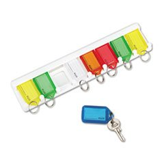 -- Color-Coded Key Tag Rack, 8-Key, Plastic, White, 10 1/2 x 1/4 x 2 1/2