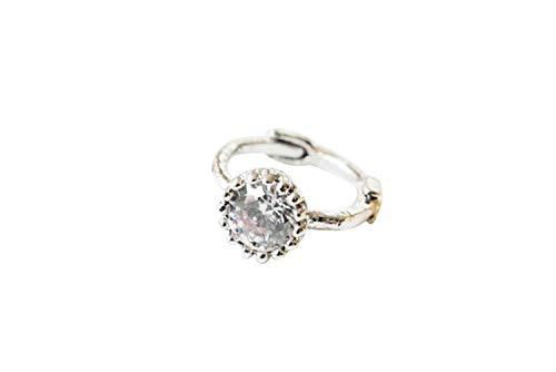 ONDAISY 14k Rhodium Plated Simulated Diamond Cz Tragus Cartilage Daith Rook Helix Snug Clicker Hoop Ring Earring Piercing for Women16g