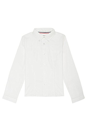French Toast Big Girls' Long Sleeve Button Down Oxford, White, 20 by French Toast (Image #2)
