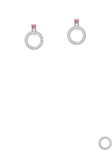 Proverbs 3:5 Eternity Ring Light Pink Crystal Post Earrings
