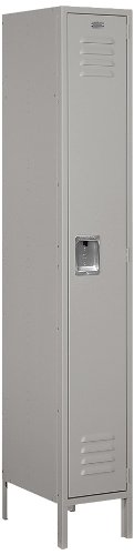 Salsbury Industries 61168GY-U Standard Metal Locker Single Tier 1 Wide 6 Feet High 18-Inch Deep Gray Unassmbled Gray -