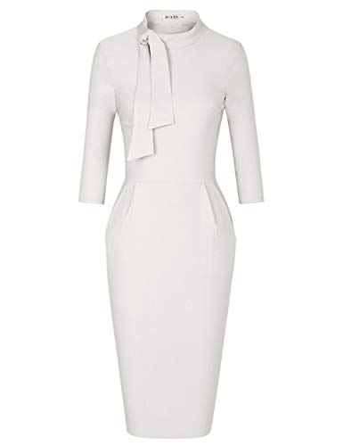MUXXN Ladies Off White 3/4 Sleeves Knee Length Formal Work Pencil Dress (White M)