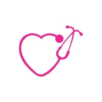 Heart stethoscope premium decal 5 inch pink nurse registered nurse rn r n