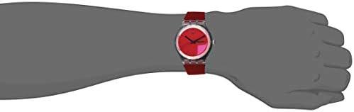Swatch Transformation Quartz Silicone Strap, Red, 20 Casual Watch (Model: SUOK717)