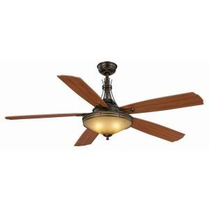 Indoor Modern Bronze Ceiling Fan with 3 Light Shades Kit Rem