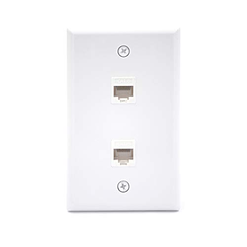 [UL Listed] VCE 2 Port Cat6 Female to Female Wall Plate