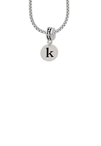 1/2' Enamel Jewelry Pendant - Disc 1/2'' Initial - k - Cross Bead Necklace