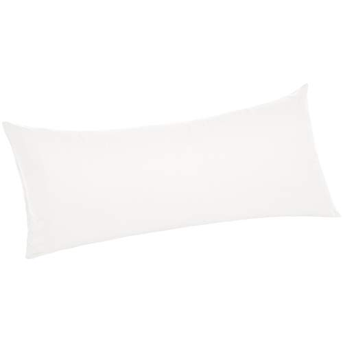 AmazonBasics Ultra-Soft Body Pillowcase – Breathable, Easy to Wash – 55″ x 21″, White