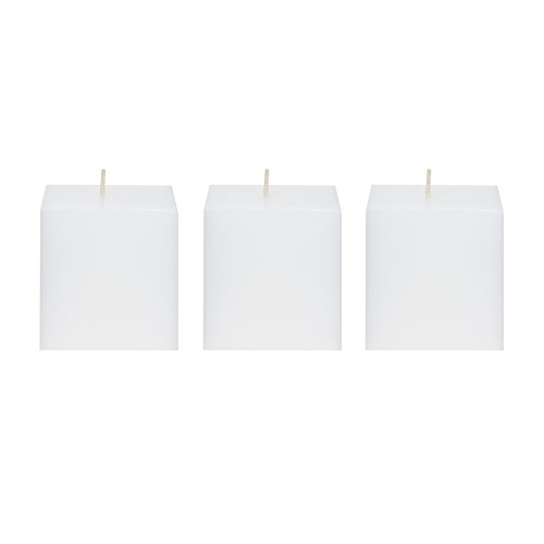 Wedding Square Pillar (Mega Candles 3 pcs Unscented White Square Pillar Candle | Hand Poured Premium Wax Candles 3