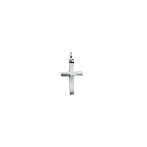 14k White Gold Latin Cross Charm Pendant - 16.5mm from Glamerous Gold