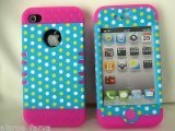 Cell Armor IPHONE4G-RSNAP-TE432 Rocker Snap-On Case for iPhone 4/4S - Retail Packaging - White and Yellow Dots on Blue