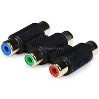 3-RCA RGB Coupler for Component Video Cable Extension [Electronics]