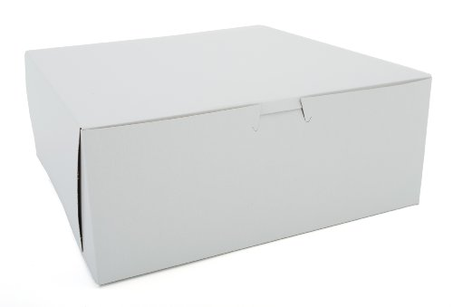 ay 0973 Premium Clay-Coated Kraft Paperboard White Non-Window Lock Corner Bakery Box, 10