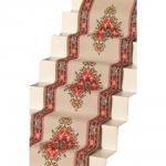 Melody Jane Dollhouse Woven Stair Carpet Runner Cream Red Miniature Flooring
