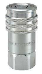 Parker Hannifin FEM-501-12FO-NL Series FEM Steel Non-Spill Flush Face Hydraulic Quick Coupler, Push-to-Connect, 1/2'' Body Size, 1 1/16''-12 UNF Port End, 3.21'' Length