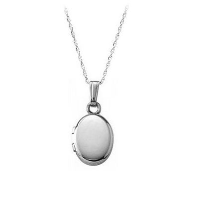 13 Inches Rope Chain 14K White Gold Oval Locket For Babies Or Toddlers by Loveivy