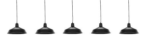 Globe Electric Barnyard 1-Light 16' Industrial Warehouse Plug-in Pendant, Black 15' Cord, Matte Black Finish, in-Line On/Off Switch, 65151