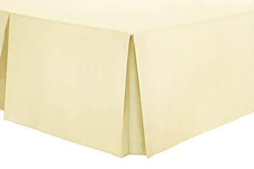Adam Jee Bed Skirt Plain Wrap Around Bed Skirt Tailored Bed Platform Base Valance Sheet (2-Pcs) (16 Inches) (White, Grey, Beige) (Beige, Full)