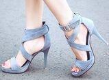 Laruise Women's Pee Toe Stiletto Sandal Grey jLh5F8
