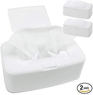 Wet Wipes Dispenser (2Pack) Easy One Push Flap Baby Wet Tissue Case Warmer