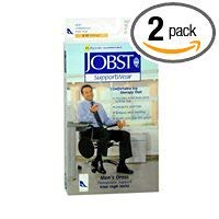 Jobst Supportwear - JOBST SupportWear Socks Men's Dress Knee High Mild Compression 8-15mmHg Black Large Close-Toe - 1 Pair, Pack of 2