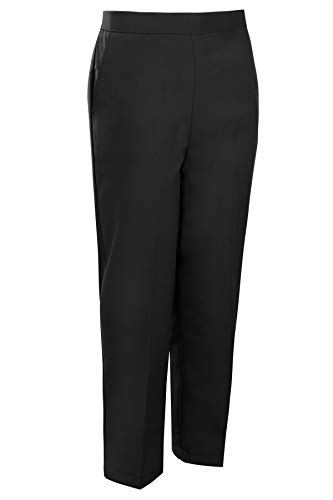 shelikes Womens Ladies Half Elasticated Trouser Stretch Waist Casual Office Work Formal Pull On Trousers Straight Leg…