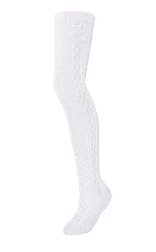 Zukie Girls Tights for Children & Teens, Warm Winter Leggings, Perfect for School Uniforms, Medium (7-10 Years), White