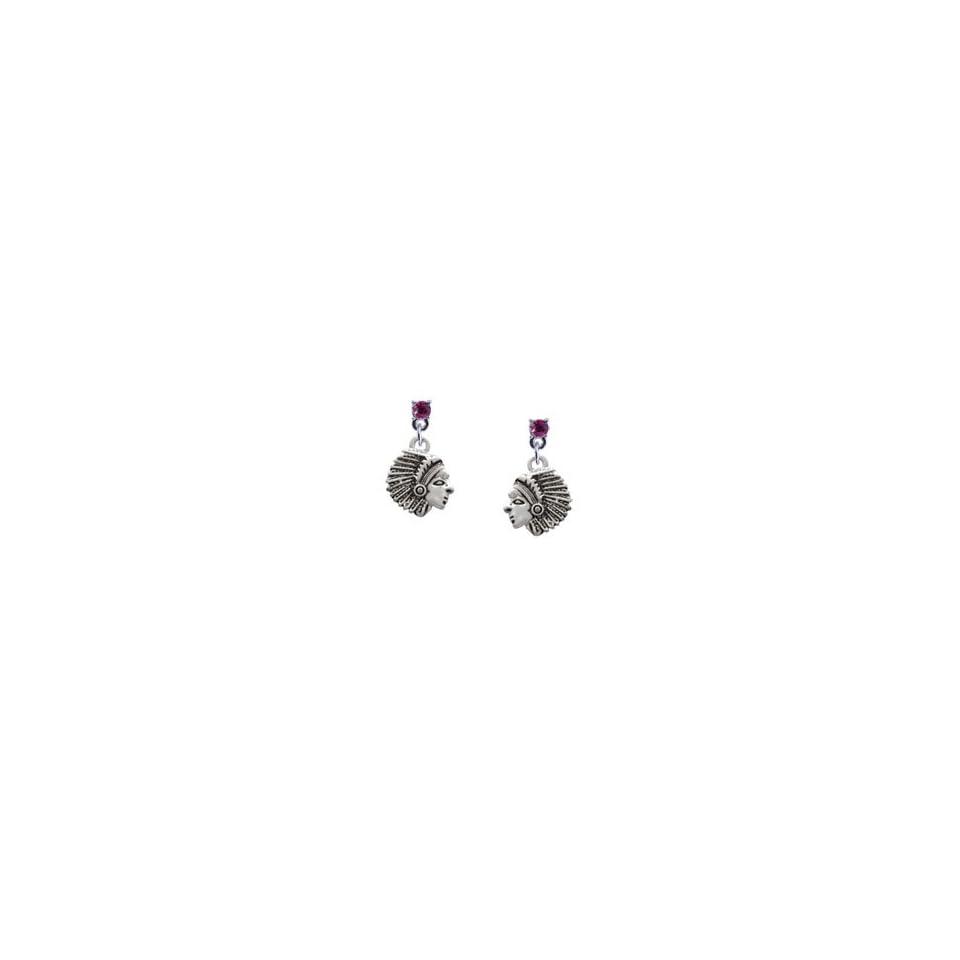 Small Indian   Mascot Hot Pink Swarovski Post Charm Earrings [Jewelry] [Jewelry]
