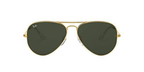 Ray-Ban RB3025 Aviator Classic Sunglasses, Gold/Dark Green Crystal, 55 mm (Ray-ban 3025 55)