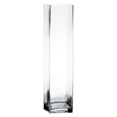 """Square Vase, Clear Glass. H-28"""", Open 4.75"""" x 4.75"""" (1 pc)"""