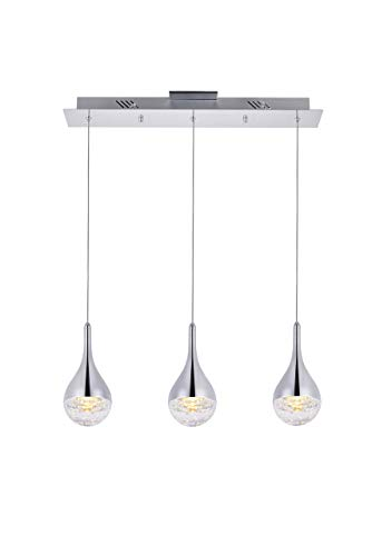 Elegant Lighting Amherst Collection LED 3-Light Chandelier 24in x 4in x 9in Chrome Finish