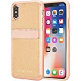 Michael Kors Saffiano Leather Pocket for Apple iPhone X - Rose gold