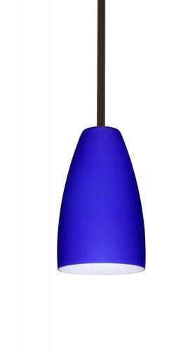 - Besa Lighting 1TT-1511CM-BR 1X75W A19 Riva 9 Pendant with Cobalt Blue Matte Glass, Bronze Finish