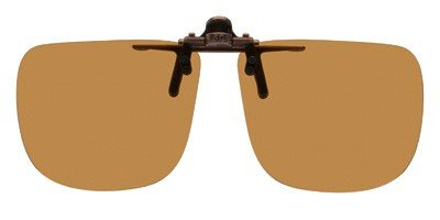 Bronze Polarized Accessories - Polarized Bronze Metal Clip On Flip Up Brown Sunglass Lenses, Rectangle, 56mm Wide X 47mm High, 131mm Wide with Bridge