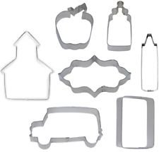 Apple Schoolhouse - 7 Piece School Cookie Cutter Set Chalkboard Bus Crayon Glue School House Apple