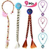 ANNTOY Rapunzel Wig Elsa Wig Anna Wig 9 Pcs Necklace Bracelet Braided Wigs Princess Dress Up for Kids Girls -