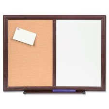 Bulletin Board Combo,Dry-Erase/Cork, 24''x18'', Mahogany Frame, Sold as 1 Each