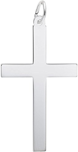 Rembrandt Extra Large Plain Cross Charm - Metal - Sterling Silver