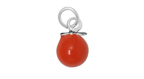 Sterling Silver Orange Red Enamel Tomato Charm Pendant (Approximately 7 x 8 - Kc Silver Pendant Sterling
